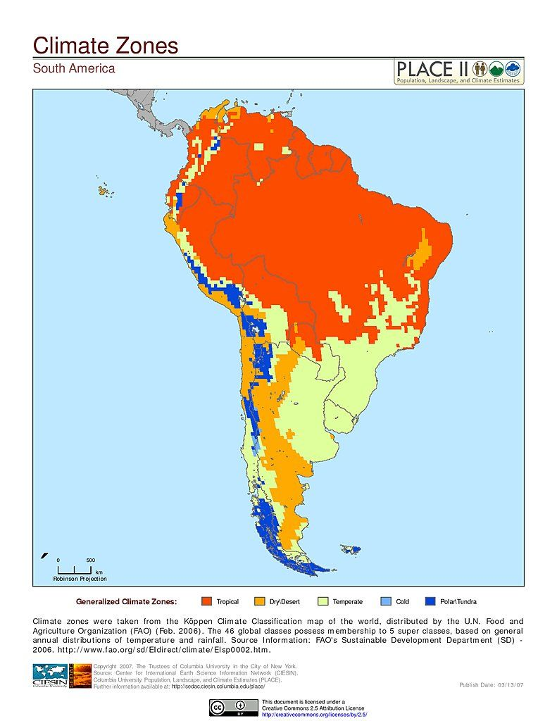 Map: South America: Climate Zones | Co-op | South america ...