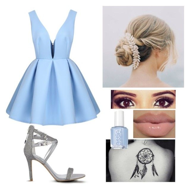 """""""Once in a life time"""" by melissa-sparkle ❤ liked on Polyvore featuring GUESS, Essie, OneDirection, Blue, dress, onedirectionoutfits and Four"""
