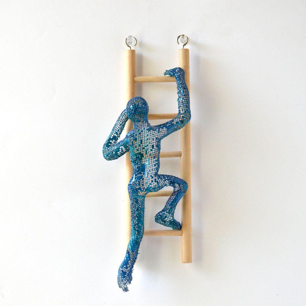 Metal wall art - Climbing man sculpture on wood ladder - wire mesh ...