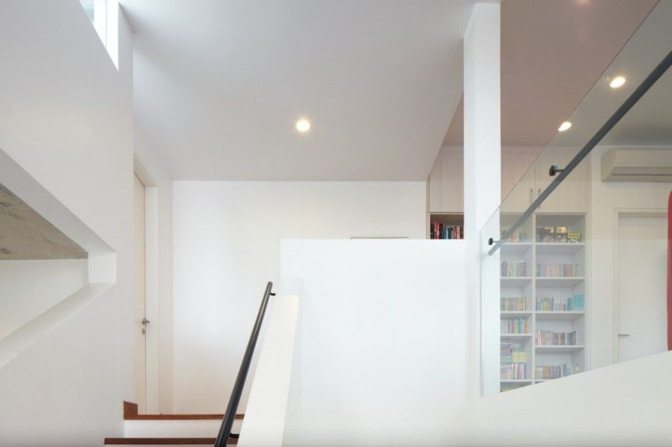 interior design of bungalow houses%0A Unique Modern Residence with Unique Circular Space   Interior Design Home  Among Library Under White Color Decoration Ideas Showing Modern Staircase  Also