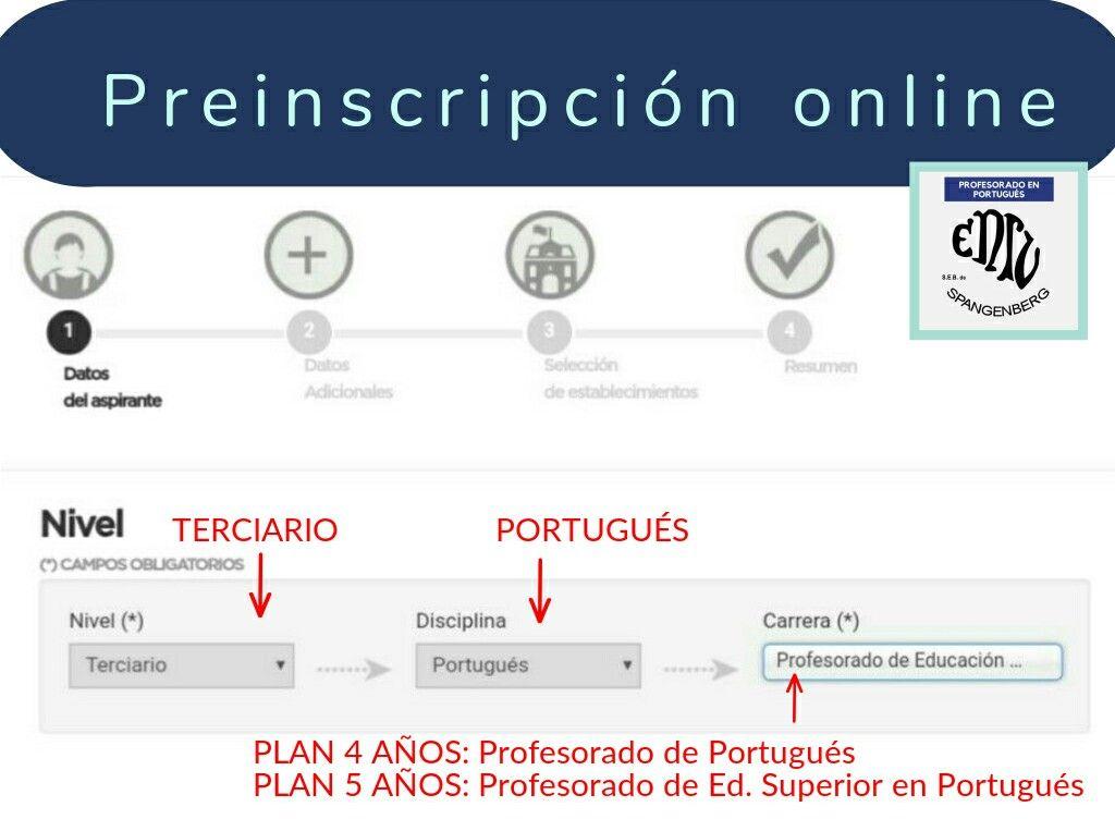 Comenzo La Preinscripcion Online Al Profesorado En Portugues De La Ens Lenguas Vivas Sofia Spangenberg Desde Comunidad Educativa Profesor Paso A Paso