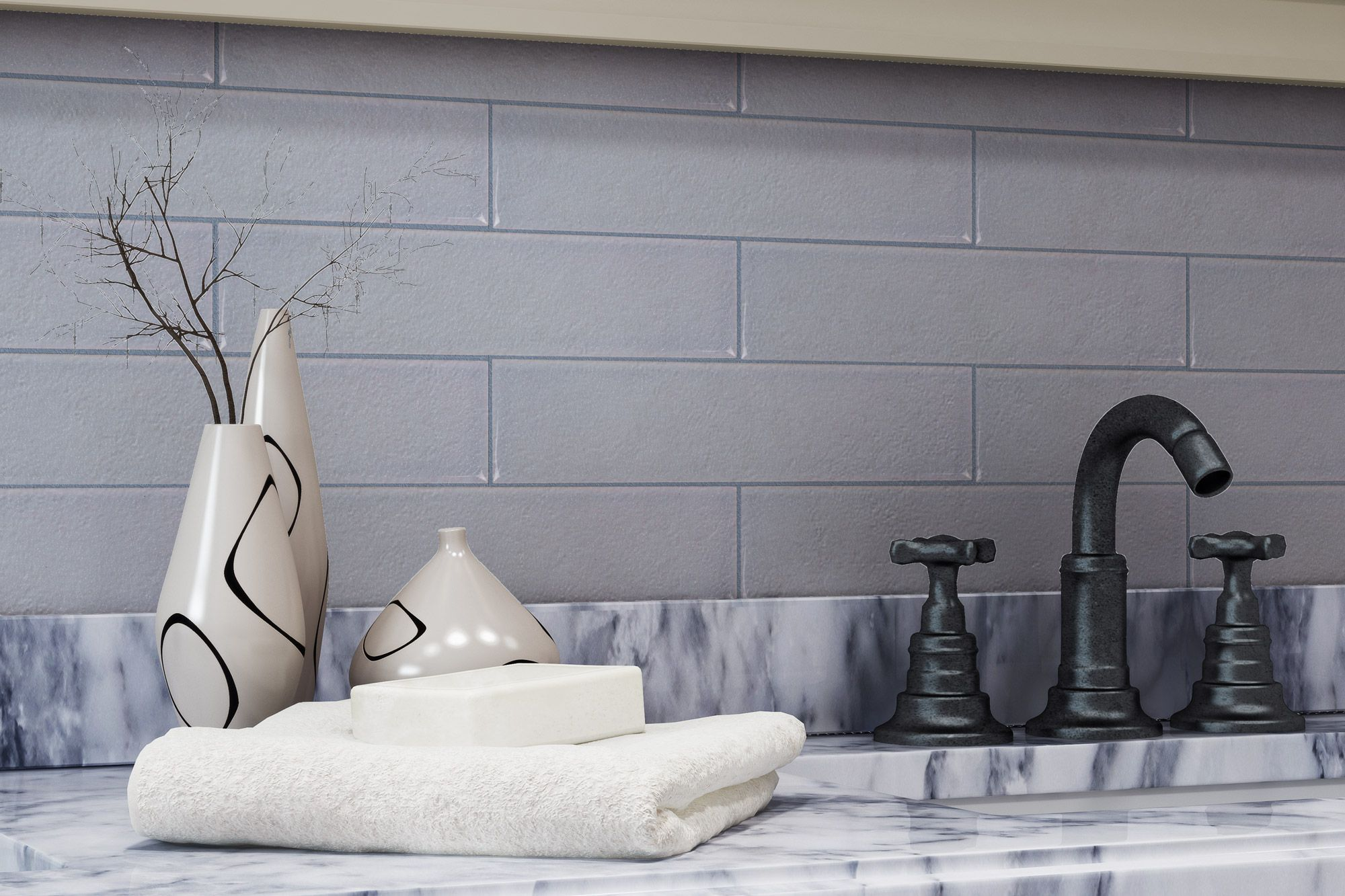 - Beautiful Light Grey Subway Tile And Staggered Mosaic Backsplash