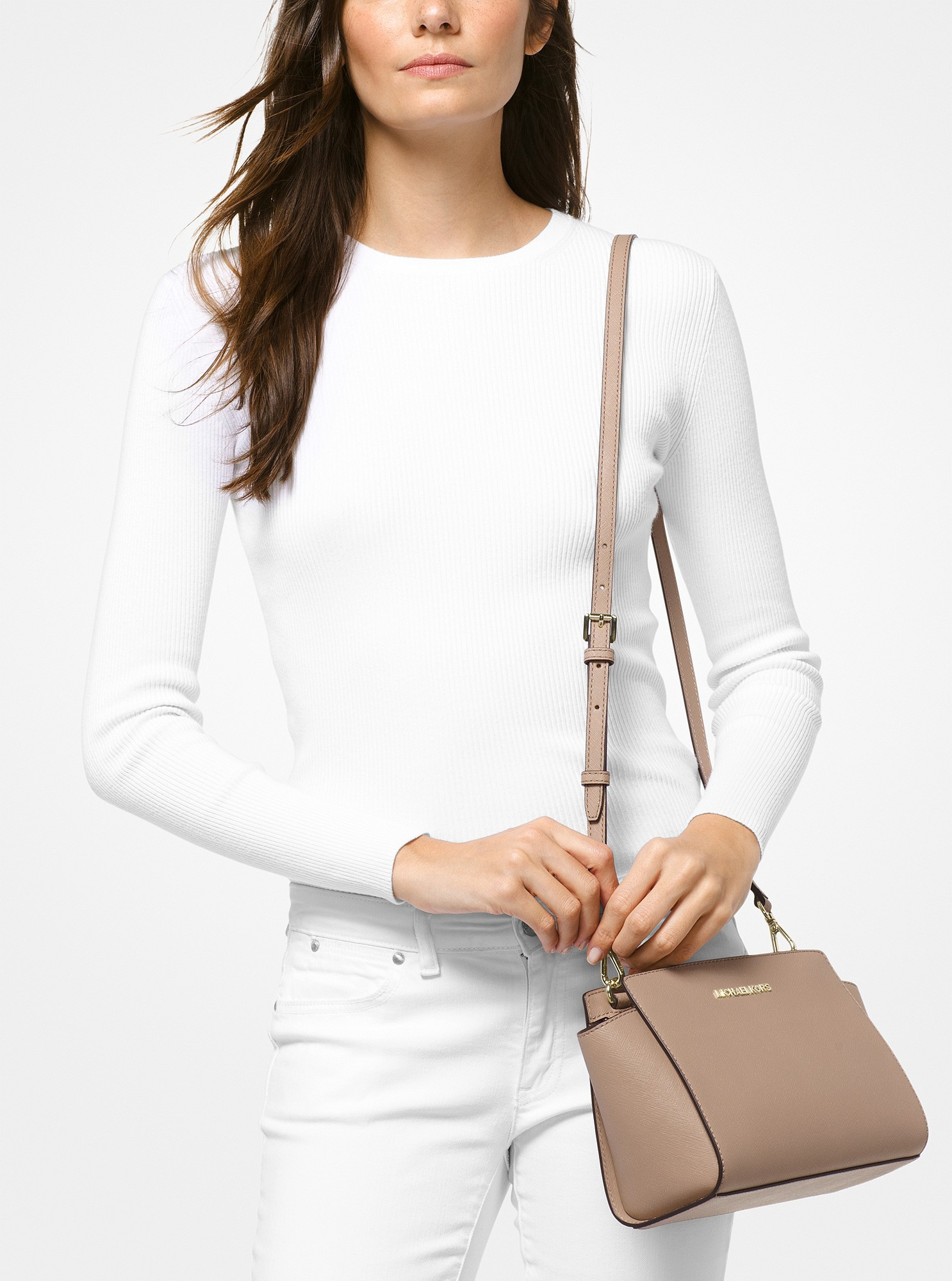 d4b3fa25896ab6 Michael Kors Selma Medium Saffiano Leather Messenger - Truffle ...
