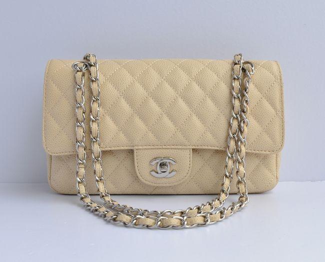 f03afa547811 Chanel 2.55 Series Flap Bag Caviar Leather Beige Silver | chanel bag ...