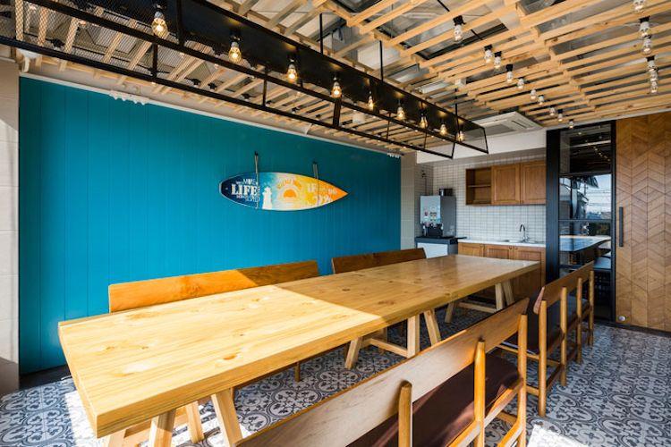Holzfliesen Wand Deko Turkis Surfbrett Industrial Loft Stil