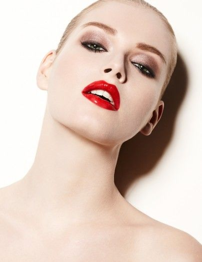 High Gloss Red Lips With Slicked Back Blonde Hair Luminescent