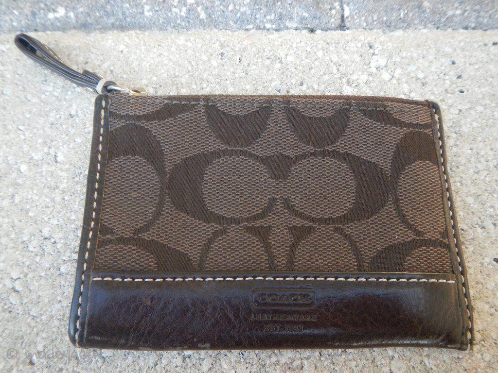 Coach signature c jacquard coin purse card wallet zipper