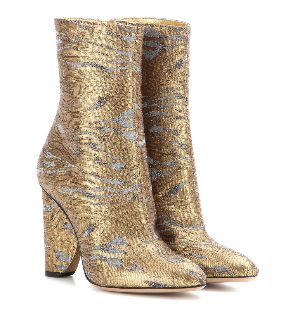 f9bef49c8b22 Dries Van Noten - Metallic jacquard ankle boots - Note the golden metallic  leather lining – a subtly luxe finishing touch. - @ www.mytheresa.com