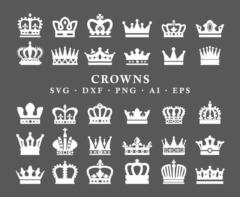 Crown Svg Crown Clipart Queen Crown King Crown Princess Etsy Clip Art Name With Crown Tattoo Queen Tattoo