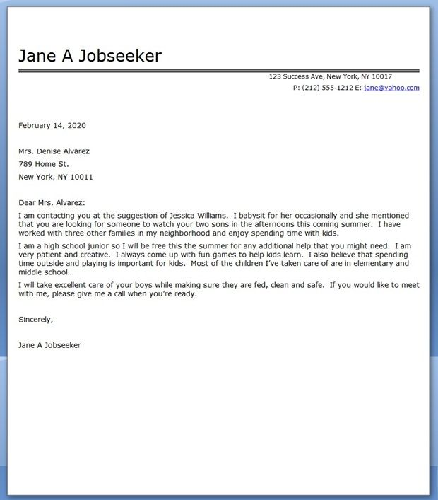 Babysitter Cover Letter Sample | Creative Resume Design Templates ...