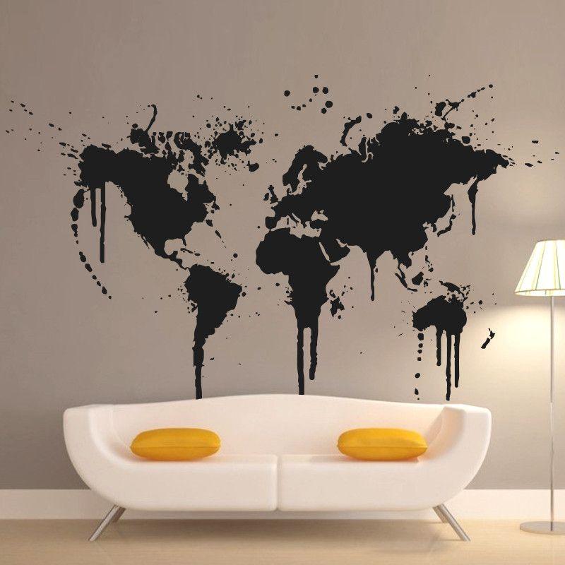 2016 Art New Design Home Decoration Spray Paint World Map Wall