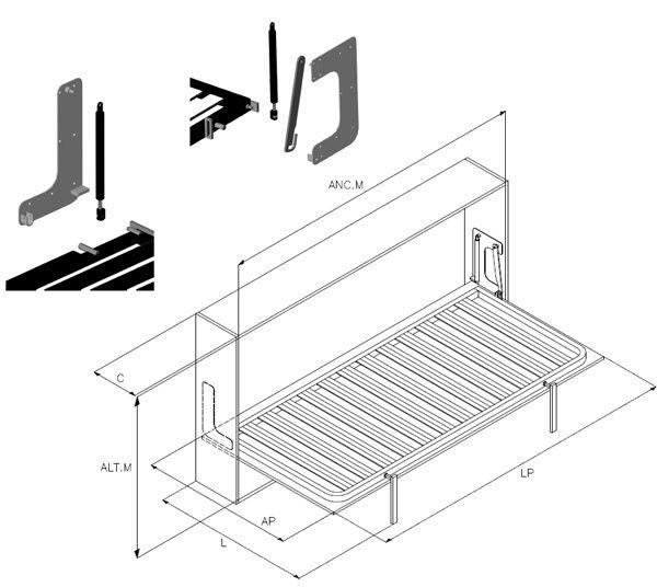Imagen dormitorio y camas plegables pinterest camas for Mecanismo cama abatible