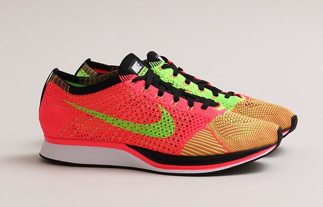 Men's Nike Flyknit Racer Hyper Punch Black Electric Green Sneakers : L1h4198