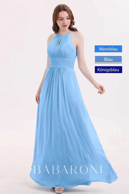 Neckholder lange Chiffon Kleid mit Gefaltet Taille # ...