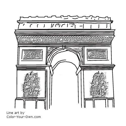 Arc De Triumph Coloring Page France Drawing