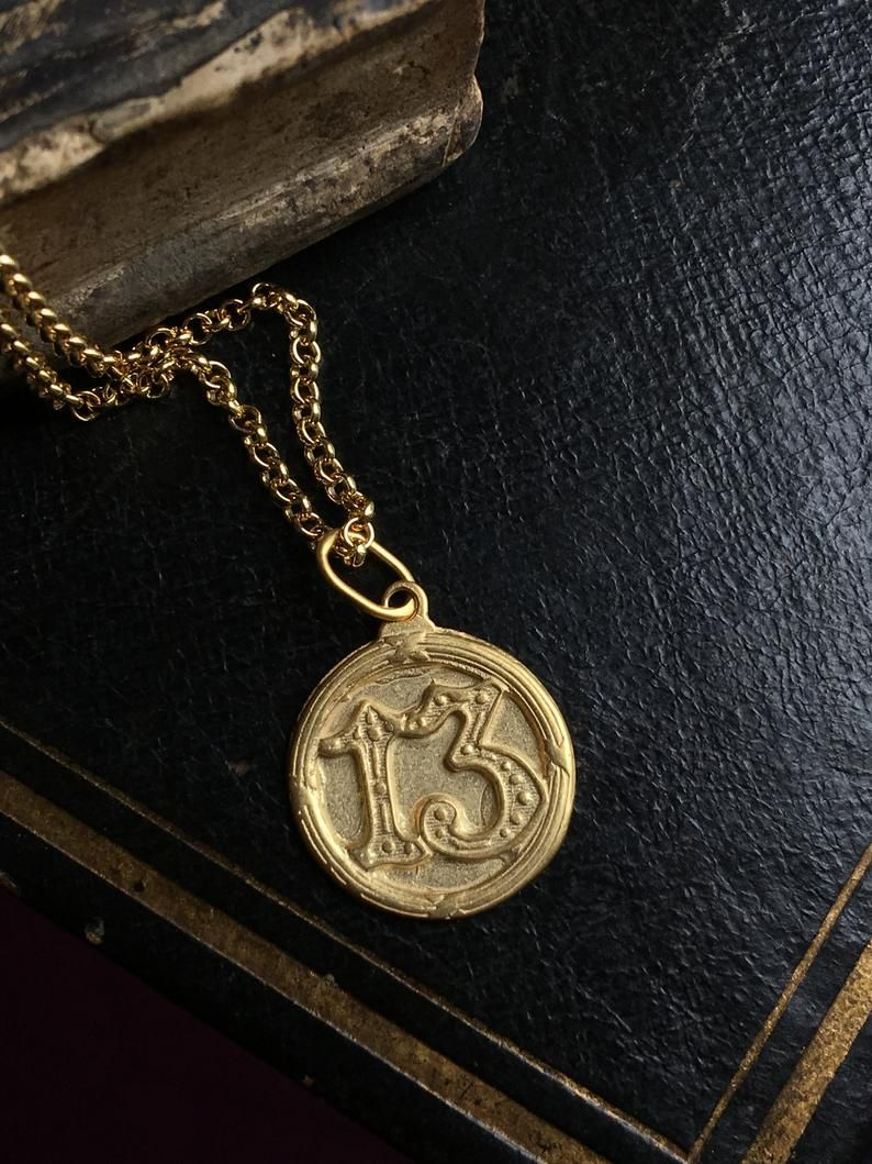 Antique French Lucky Charm Pendant Lucky Number 13 Lucky Number Gold Plated Silver