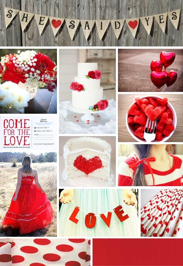 A Red White And Polka Dotted Wedding Engagement Party Inspiration