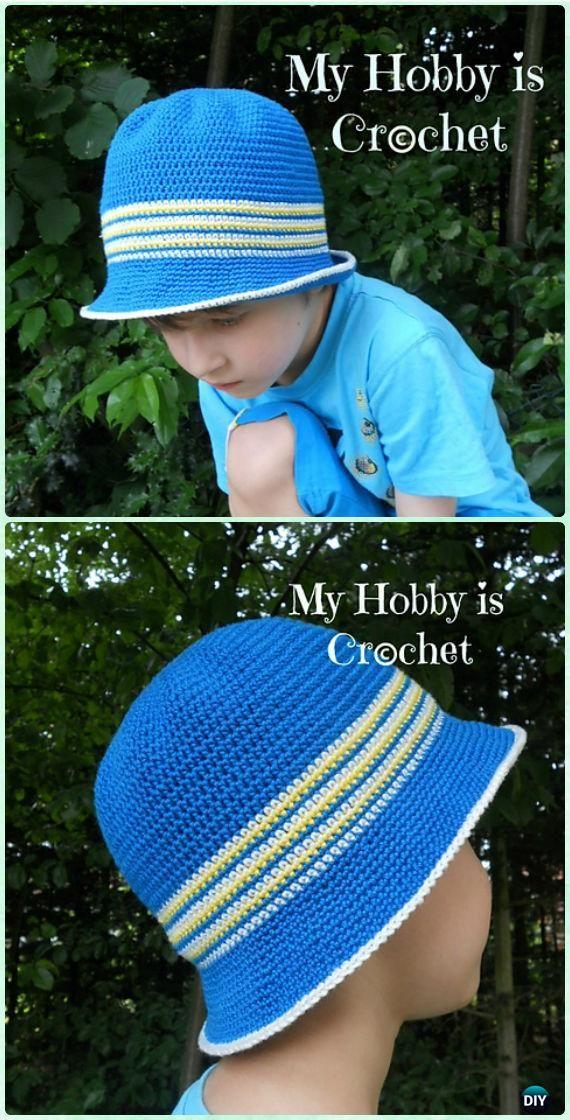 Crochet Cotton Sun Hat Free Pattern -#Crochet; Boys Sun Hat Free ...