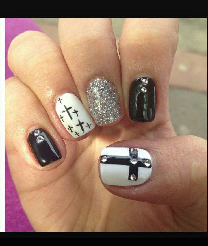 White/black- cross   Nails   Pinterest   Black, Nail nail and Make up