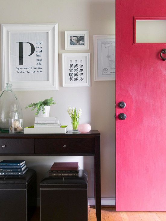 Pages from books, meaningful sketches, and that door color counts as art!