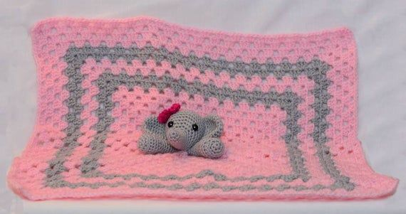 A beautiful handmade corchet elephant lovey security blanket. A plush toy and security blanket all i #securityblankets