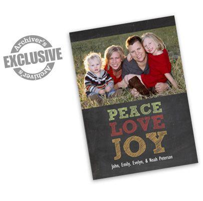 Peace Love Joy Chalkboard 5x7 Christmas Photo Card