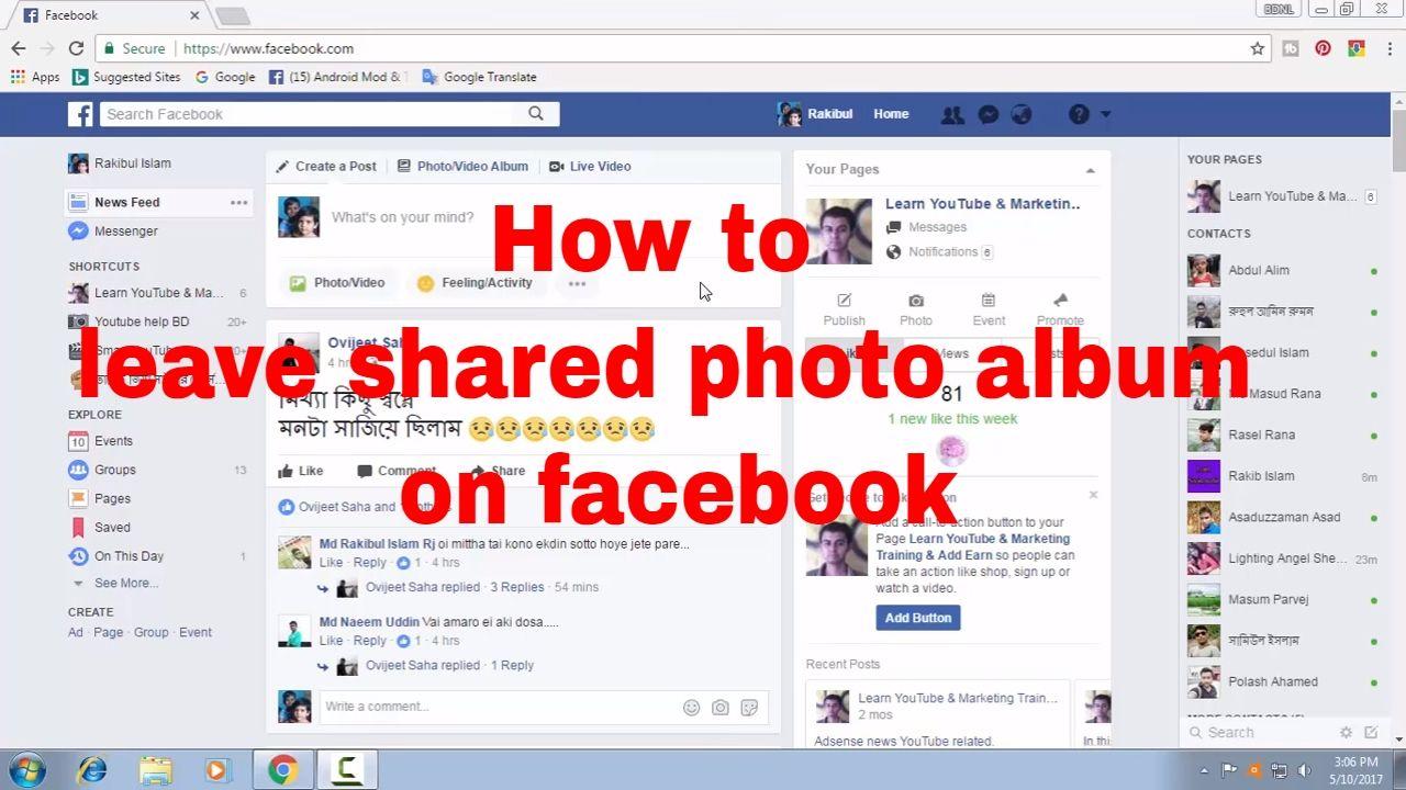 How To Leave Shared Photo Album On Facebook Fb Tips 75 Learn Social Media Photo Album Album