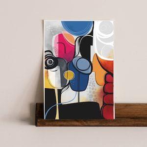 Krsna : Modern Art Abstract faces Art Print Contemporary | Etsy