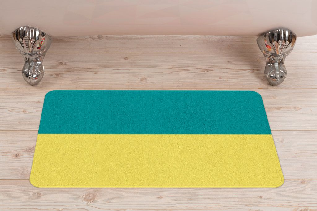 Turquoise And Marigold Yellow Colorblock Bath Mat Striped Two