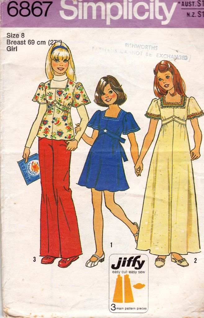 Simplicity 6867 Girls Jiffy Maxi Dress or Top with Bell Sleeves ...