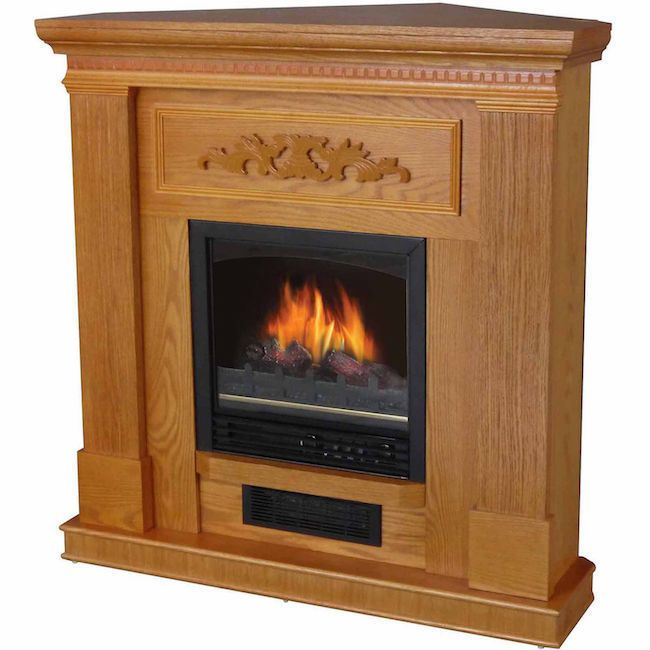 Electric Fireplace Corner Tv Stand Mantle Oak Finish Solid Wood Adjustable Flame Generic Electric Fireplace Corner Electric Fireplace Electric Fireplace Heater
