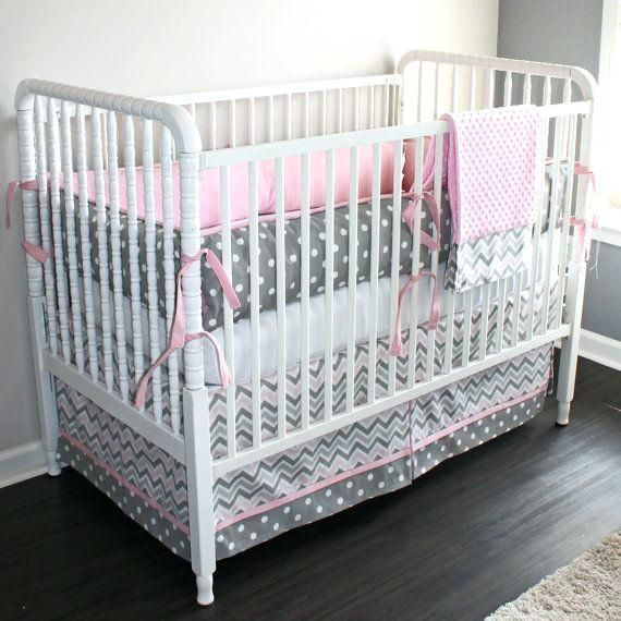 Pink And Grey Baby Bedding Gray Chevron Crib Set By Cot Uk