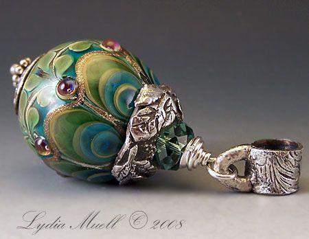 Lydia Muell Lampwork bead  Sacred Peacock