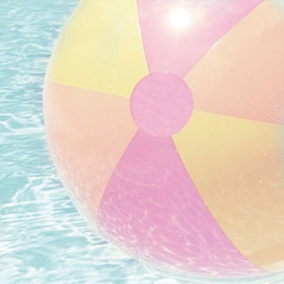 Beach Ball Art Print Pink Yellow Orange Aqua Pool Wall Art