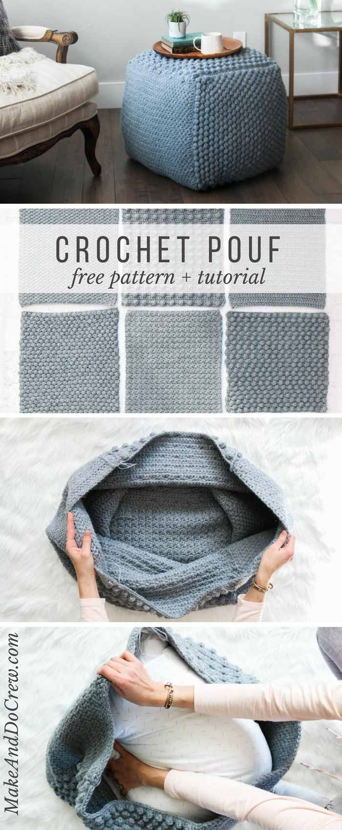 Free Crochet Pouf Pattern - modern, textured + economical! #crochetsweaterpatternwomen