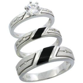 Sterling Silver Trio His Hers Black Onyx Cz Wedding Ring Band Set Las Size 5 Men S 8 To Bridal Sets Rings