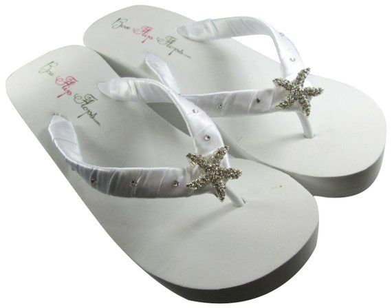 e3db77164 Starfish bridal Wedge flip flops wedding flip flops for bride  swarovski  crystal rhinestones  white