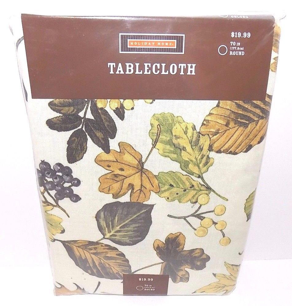 "Holiday Home Tablecloth Fall Leaves, 70"" Round, 100"