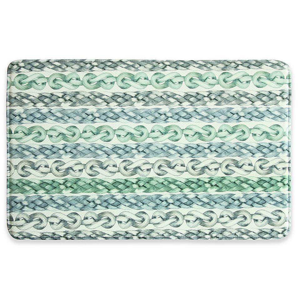 Bacova Waves 22 X 35 Memory Foam Kitchen Mat Blue Green With