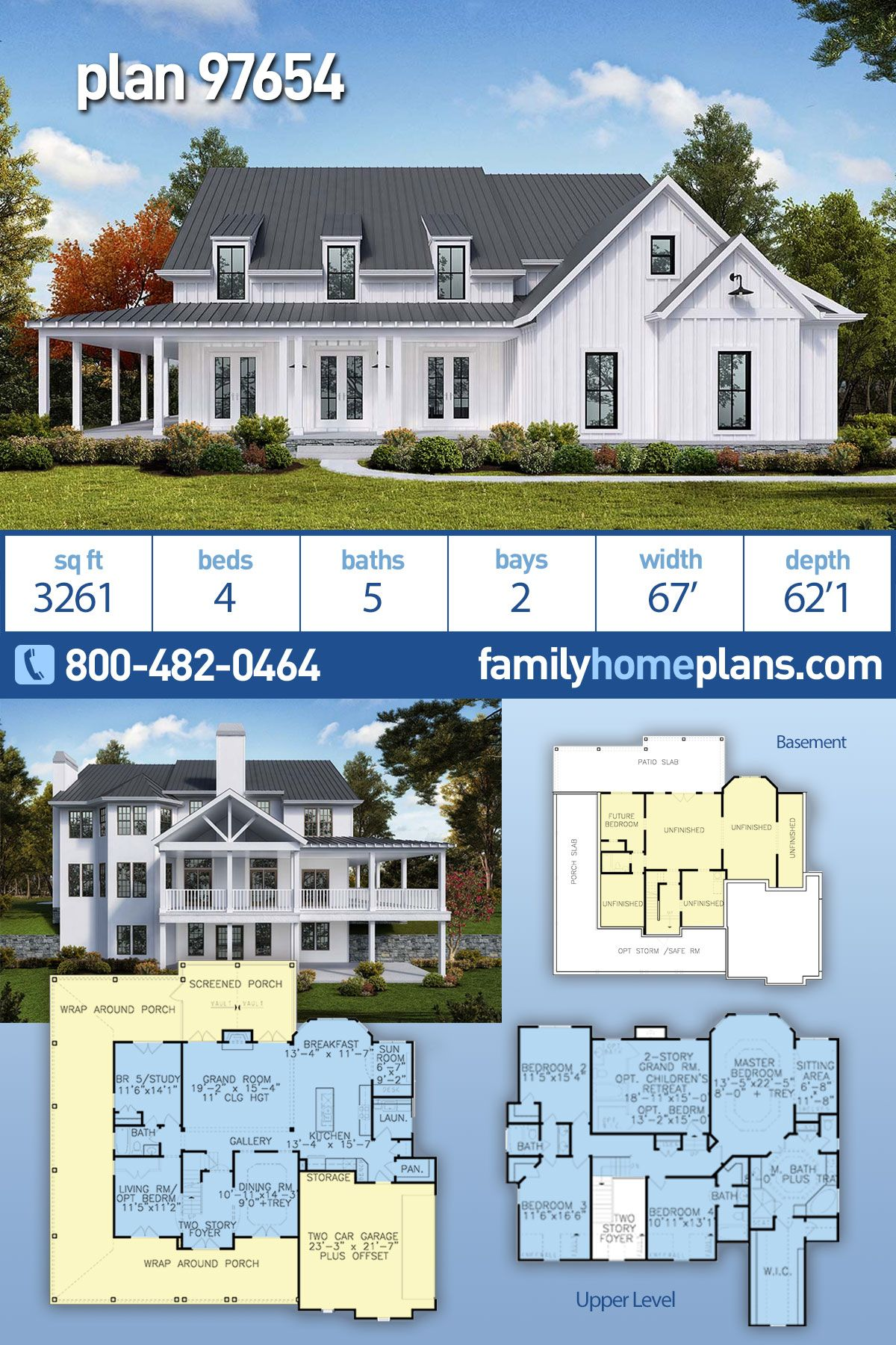 Southern Style House Plan 97654 With 4 Bed 5 Bath 2 Car Garage Farmhouse Plans House Plans Farmhouse House Plans