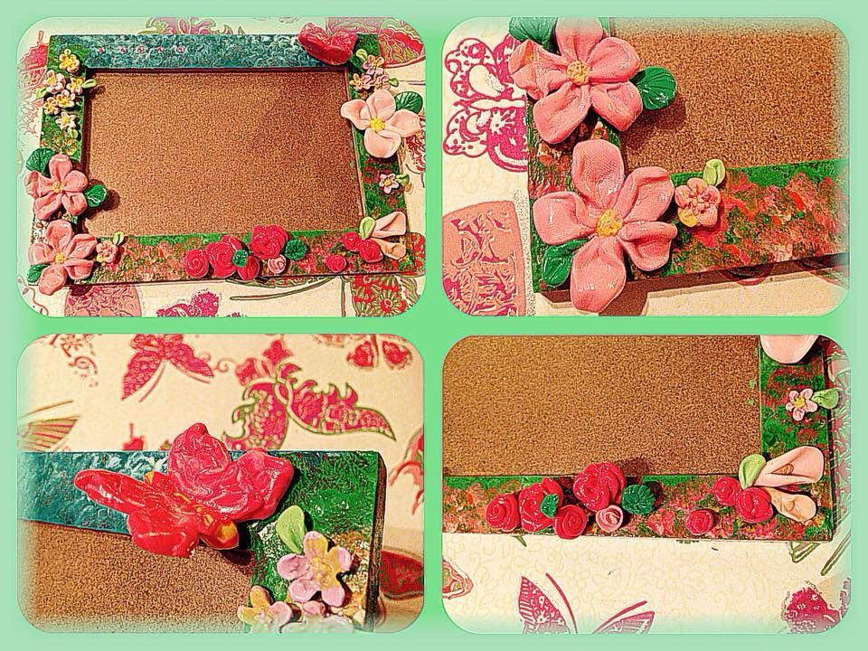 Mountain flowers and roses by polymer clay on the wood frame