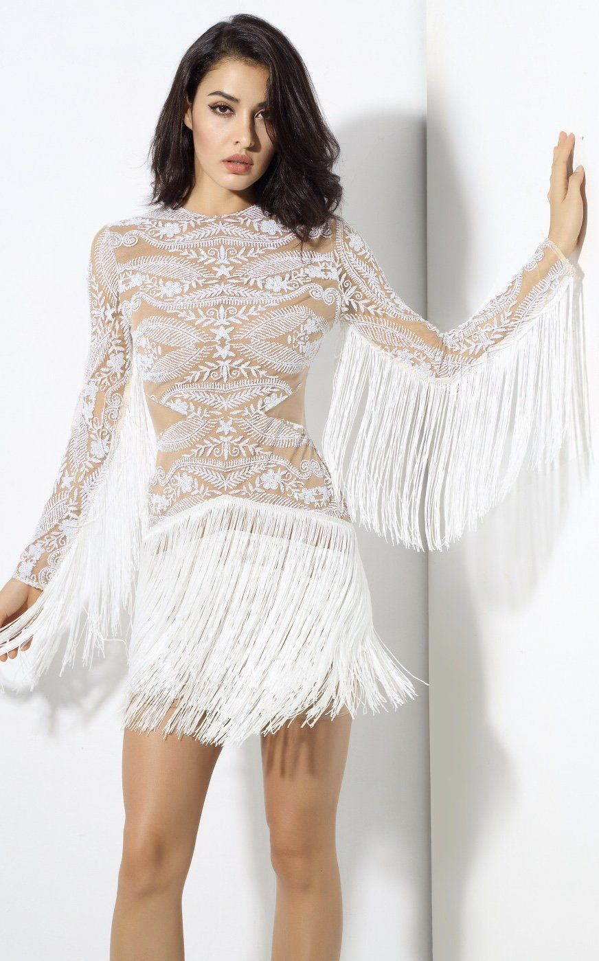 Move Over Little Black Dress This Season Is All About The Little White Dress And We Are Obsessed With This Beauty A White Fringe Dress Mini Dress Fringe Dress [ 1399 x 872 Pixel ]
