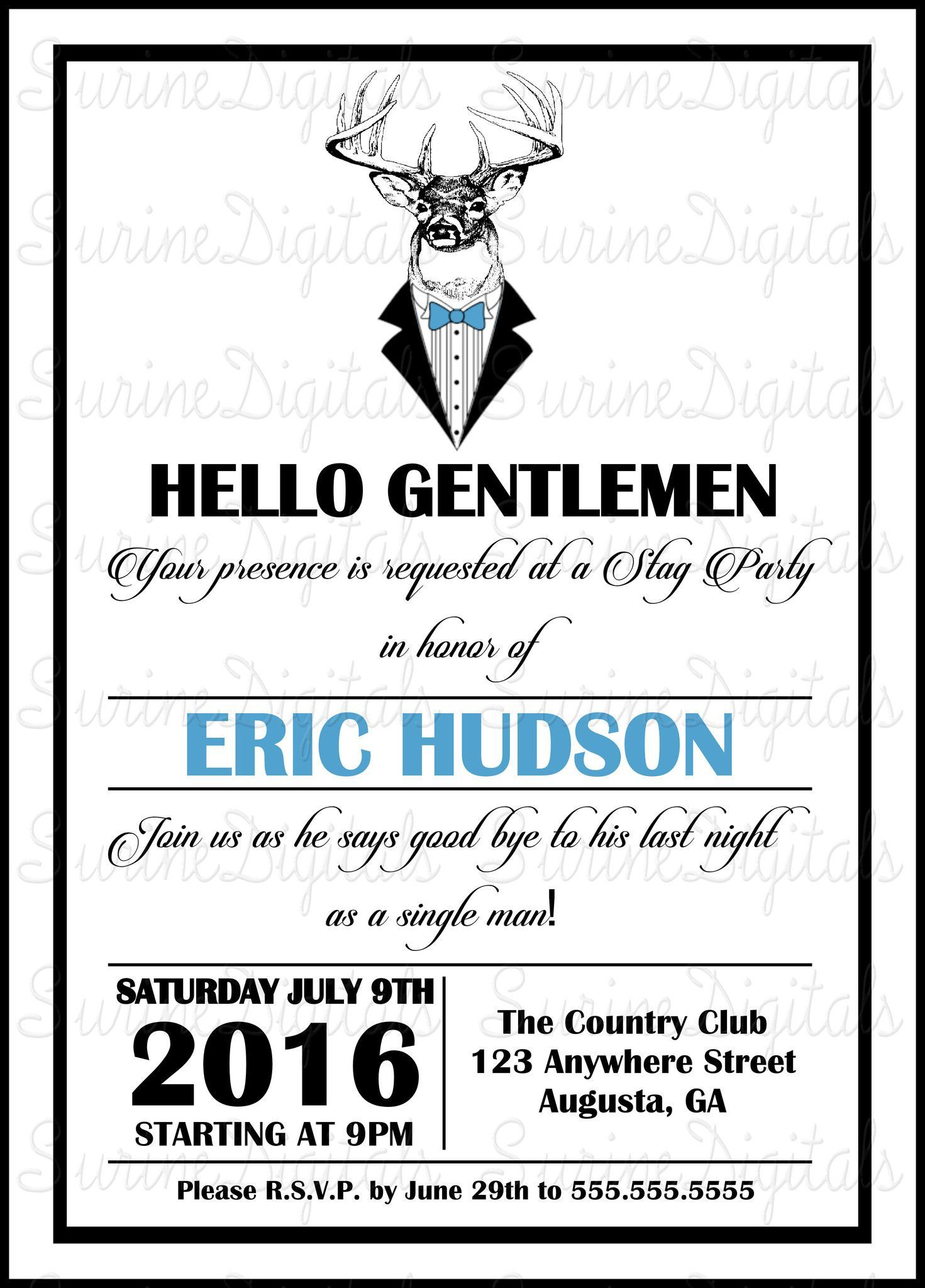 Deer In a Tux Funny Bachelor party Invitation Country themed Grooms