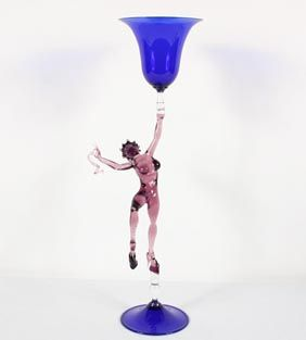 Lucio Bubacco Italian art glass lampwork sculptural goblet. Exotic nude on platforms with spike heels dancing with a bowl and snake.