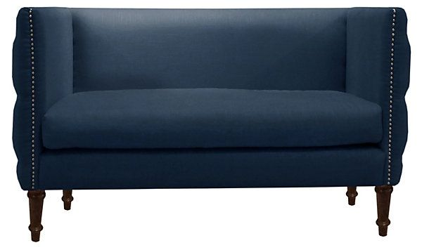 One Kings Lane - Nautical by Nature - Elizabeth Tufted Settee, Navy