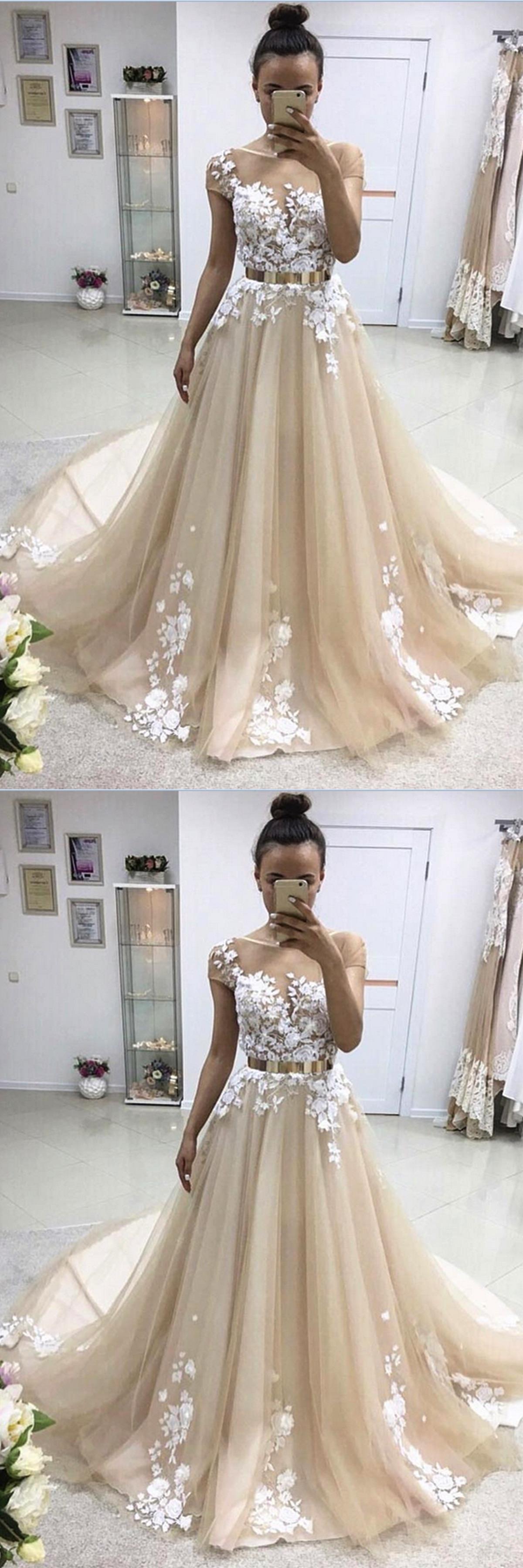 Gold belt for wedding dress   spring Aline long short sleeves senior prom dresses with gold