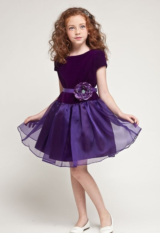 EK Rehearsal Dinner: purple girls velvet holiday dresses | Flower ...