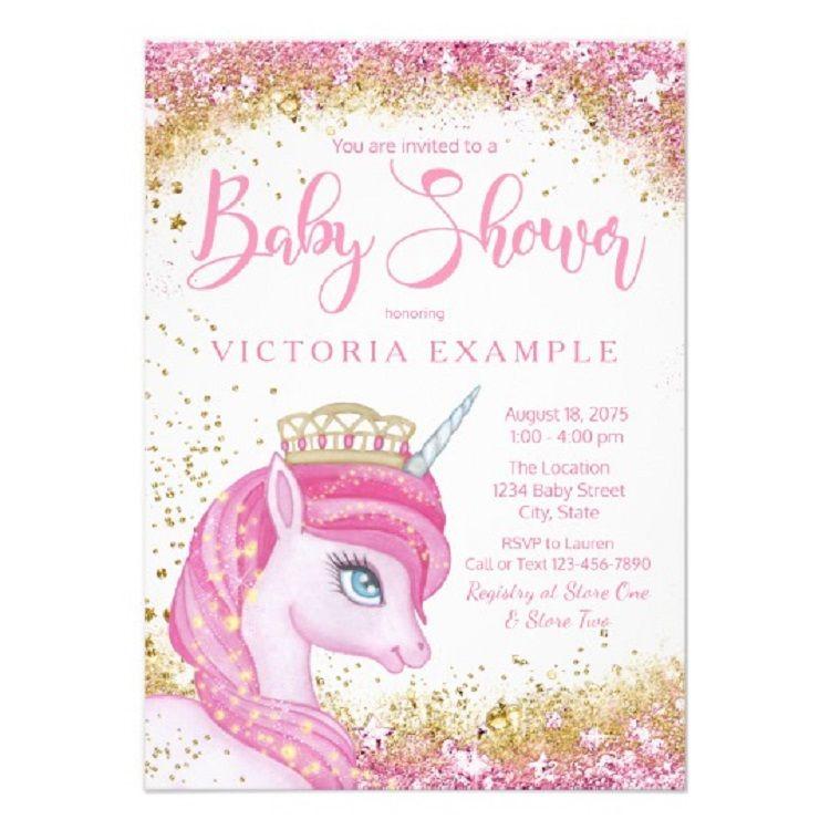 Pretty Glitter Pink Unicorn Invitations Baby Shower