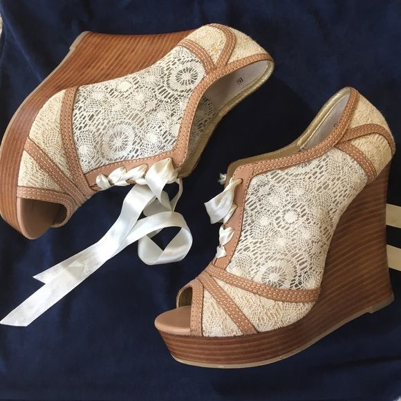Lace up Oxford peep toe wedges Peep toe Platform wedge. We're only used once. Seychelles Shoes Wedges