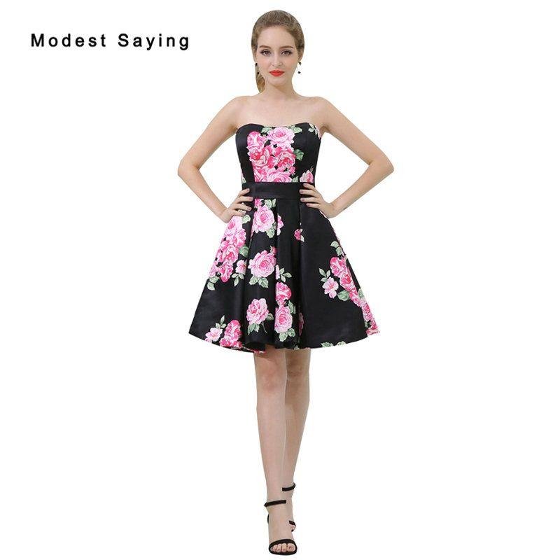 Weddings & Events Floral Short Cocktail Dresses Women Cocktails Formal Prom Coctail Party Dresses Vestido De Festa Curto Coctel